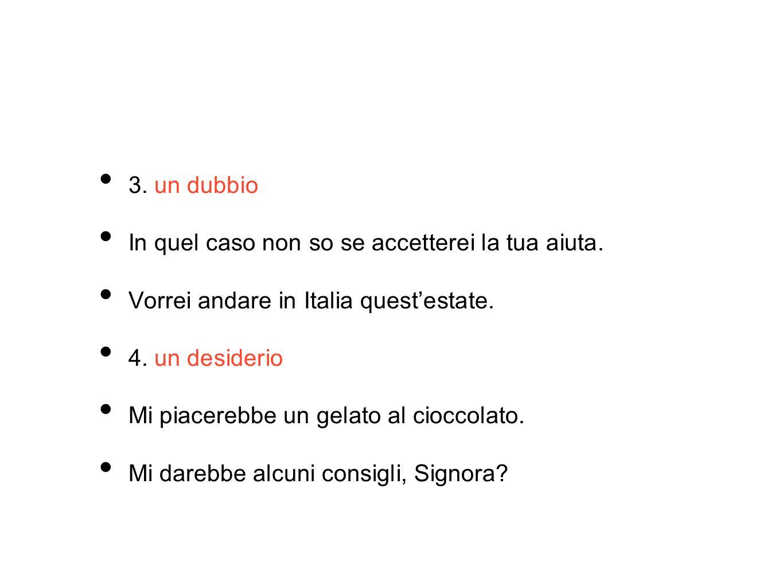 3. un dubbio In quel caso non so se accetterei la tua aiuta. Vorrei andare in Italia quest'estate.