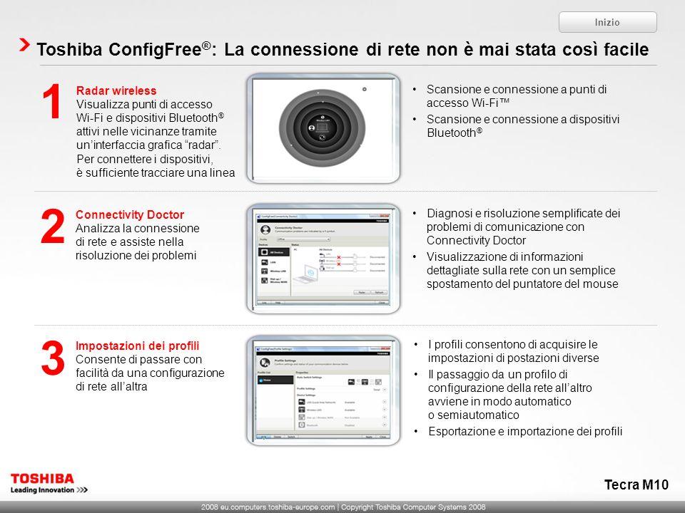 Inizio Toshiba ConfigFree®: La connessione di rete non è mai stata così facile. Radar wireless.