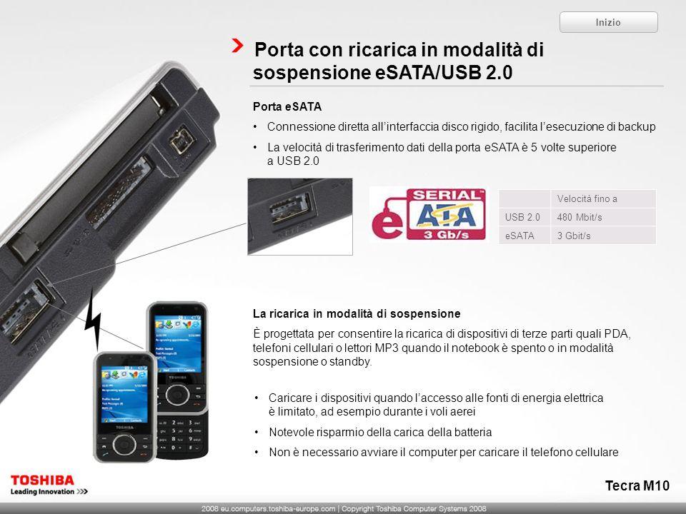Porta con ricarica in modalità di sospensione eSATA/USB 2.0