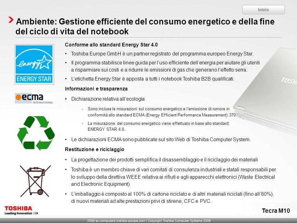 Inizio Ambiente: Gestione efficiente del consumo energetico e della fine del ciclo di vita del notebook.