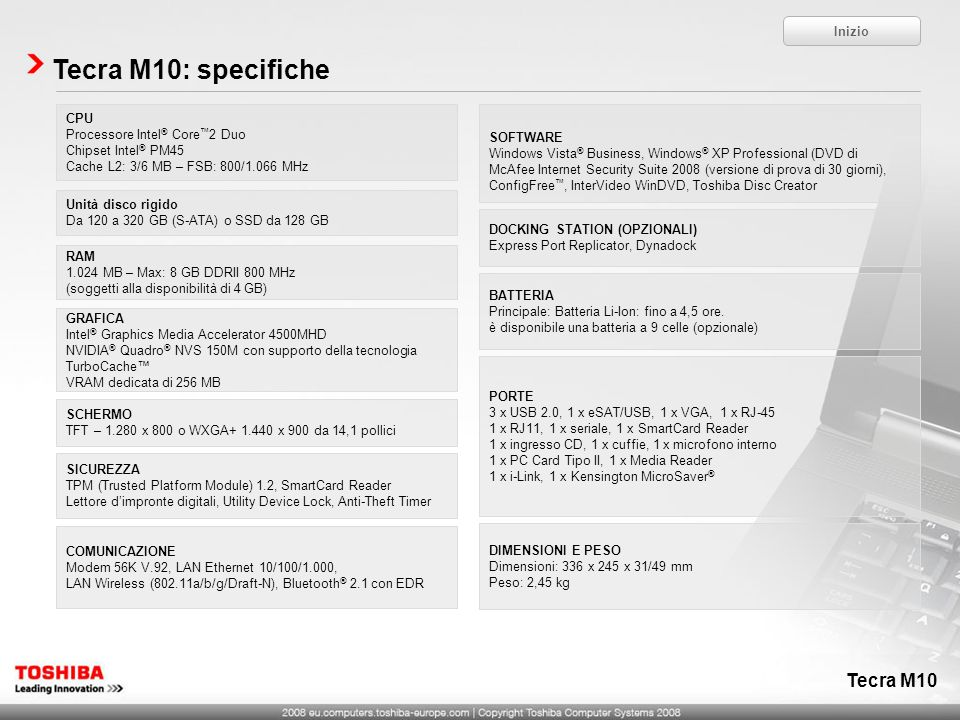 Tecra M10: specifiche Tecra M10 Inizio CPU