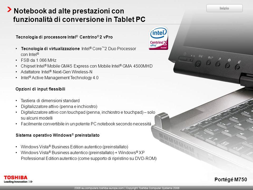 Notebook ad alte prestazioni con funzionalità di conversione in Tablet PC
