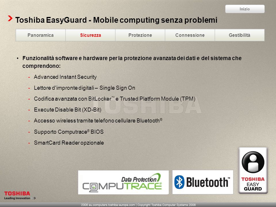 Toshiba EasyGuard - Mobile computing senza problemi
