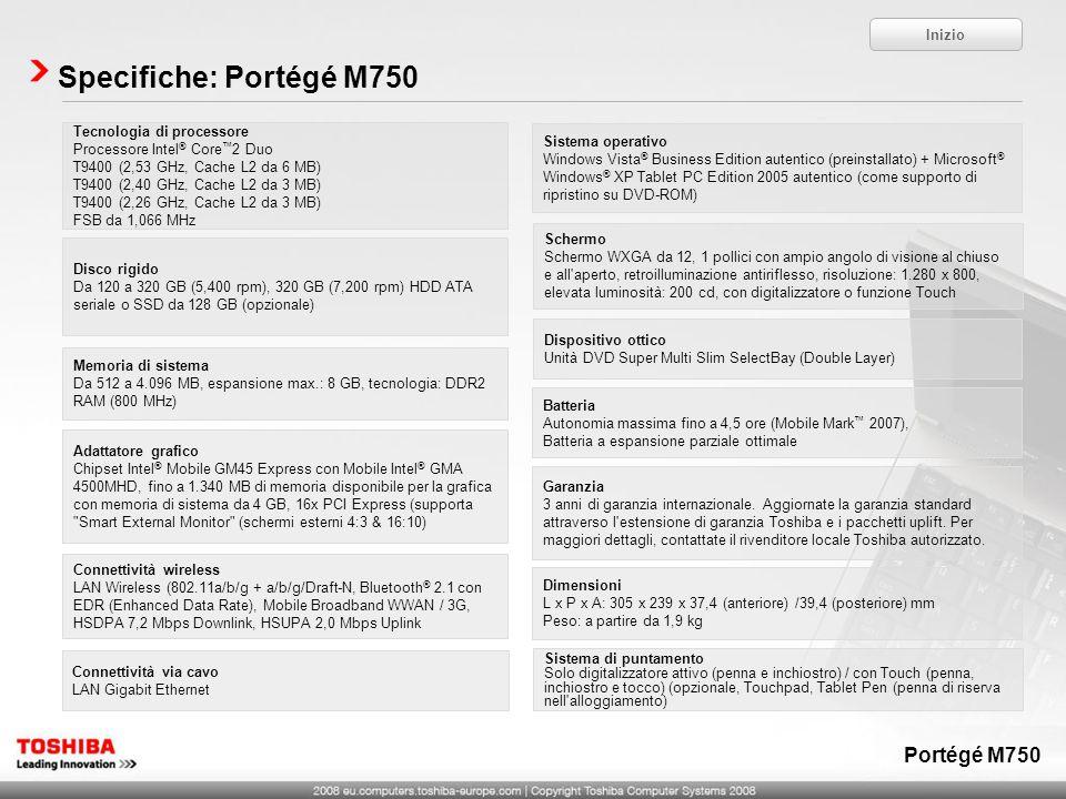 Specifiche: Portégé M750 Portégé M750 Inizio Tecnologia di processore
