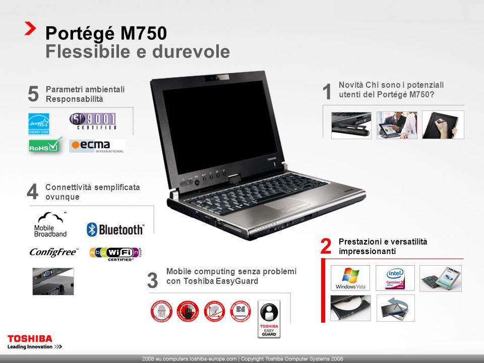1 5 4 2 3 Portégé M750 Flessibile e durevole