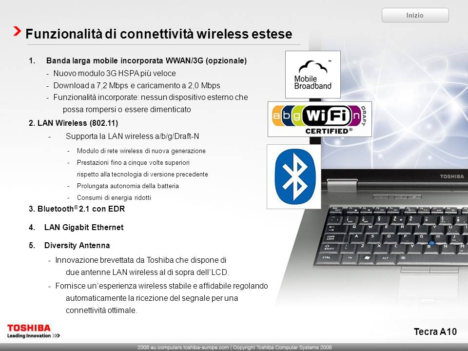 Funzionalità di connettività wireless estese