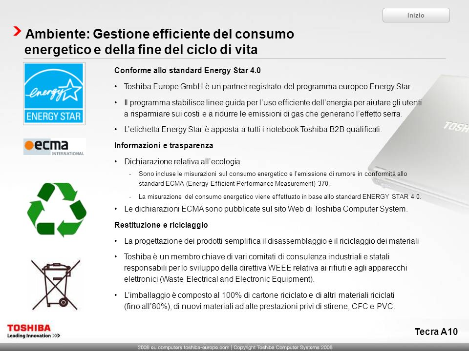 Inizio Ambiente: Gestione efficiente del consumo energetico e della fine del ciclo di vita. Conforme allo standard Energy Star 4.0.