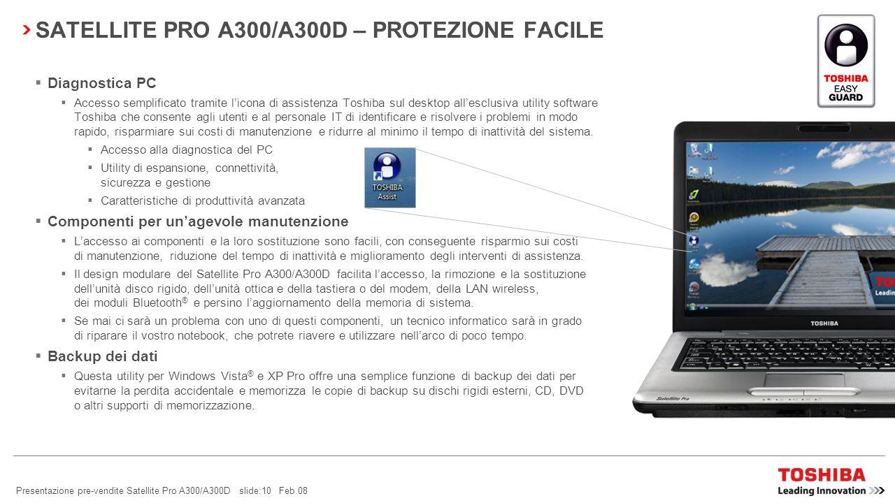 SATELLITE PRO A300/A300D – PROTEZIONE FACILE