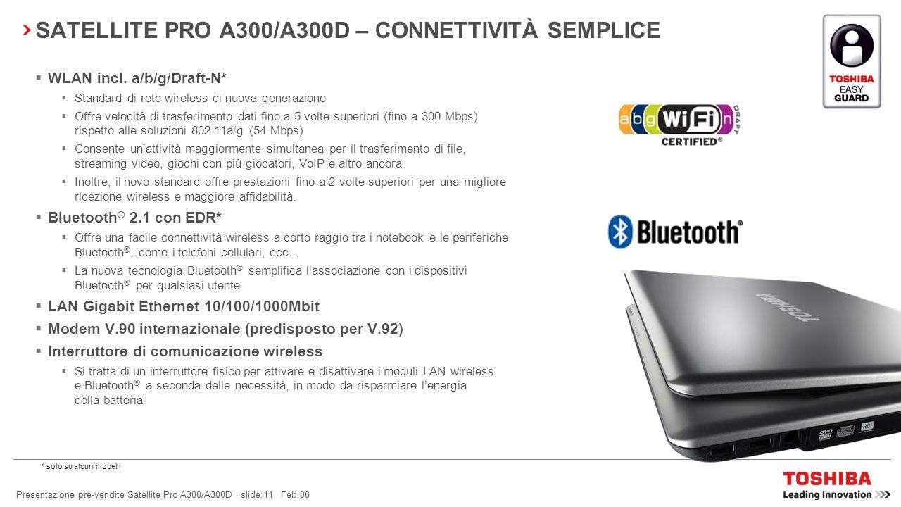 SATELLITE PRO A300/A300D – CONNETTIVITÀ SEMPLICE
