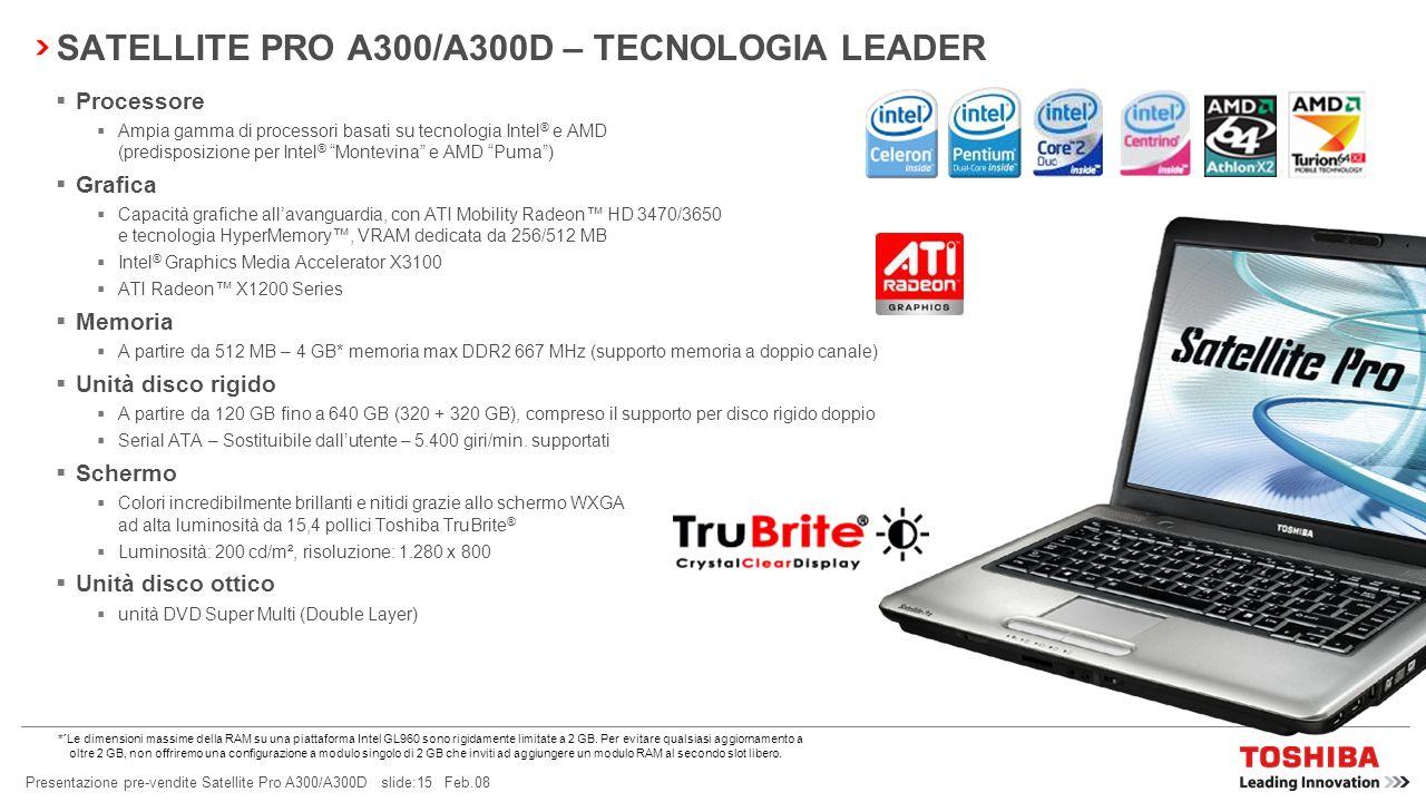 SATELLITE PRO A300/A300D – TECNOLOGIA LEADER