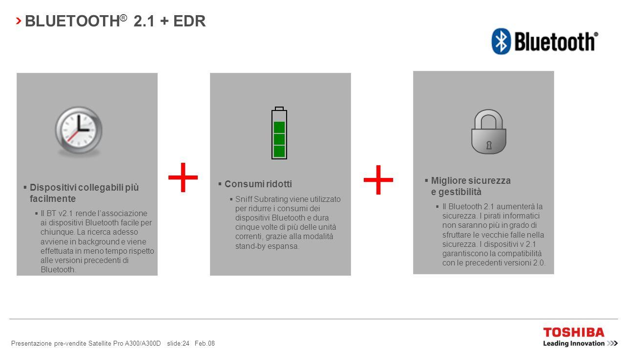 BLUETOOTH® 2.1 + EDR Migliore sicurezza e gestibilità Consumi ridotti
