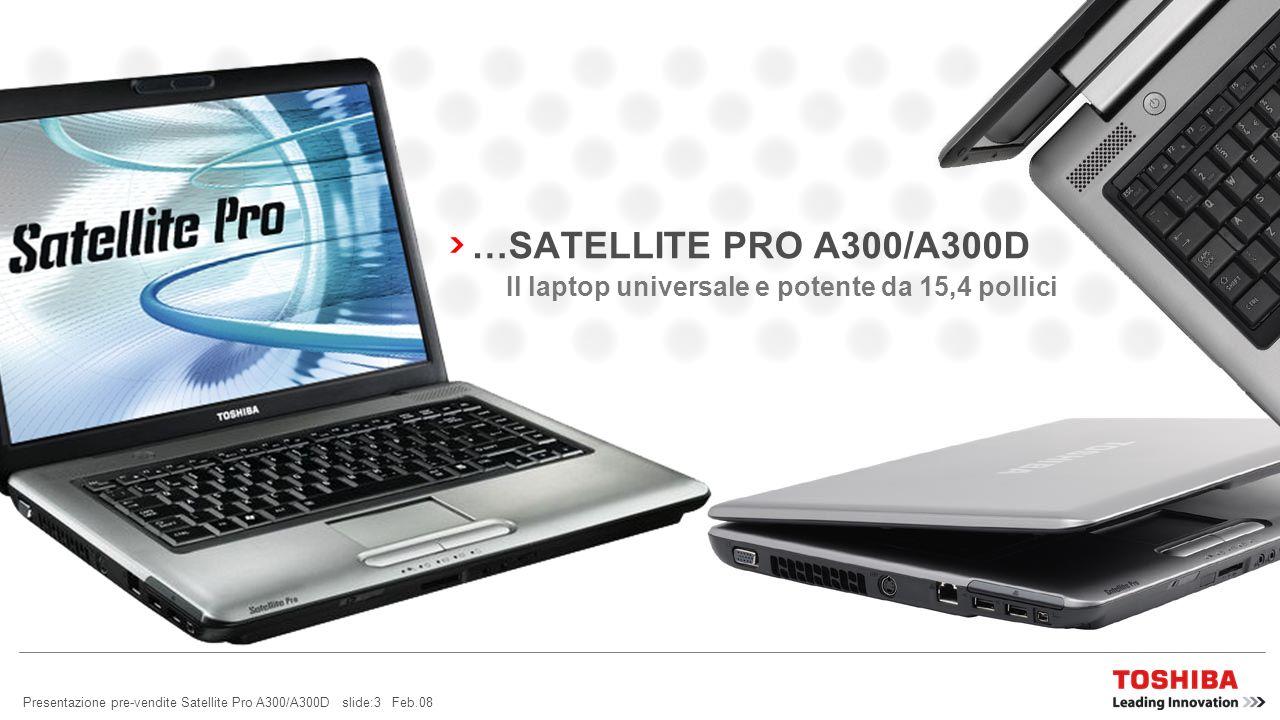 …SATELLITE PRO A300/A300D Il laptop universale e potente da 15,4 pollici.
