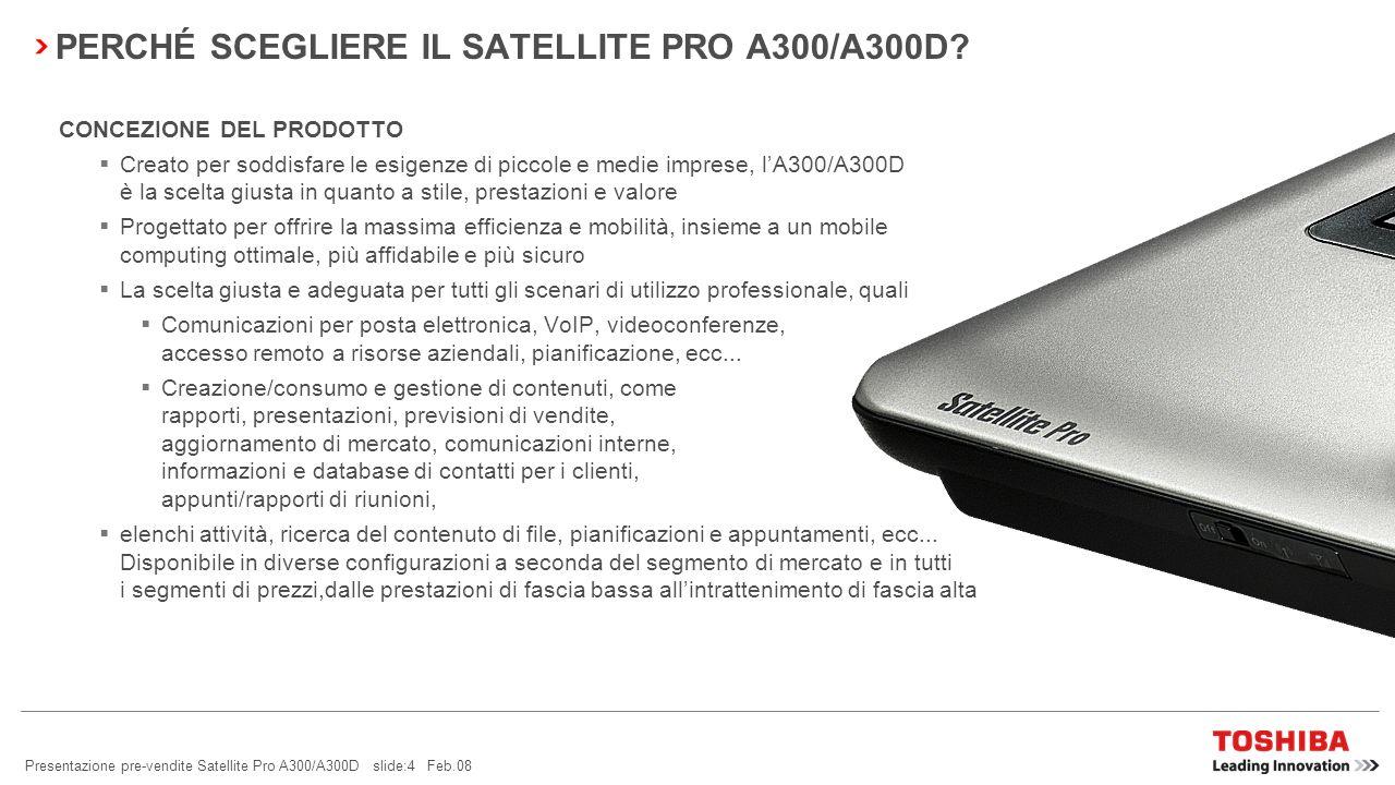 PERCHÉ SCEGLIERE IL SATELLITE PRO A300/A300D