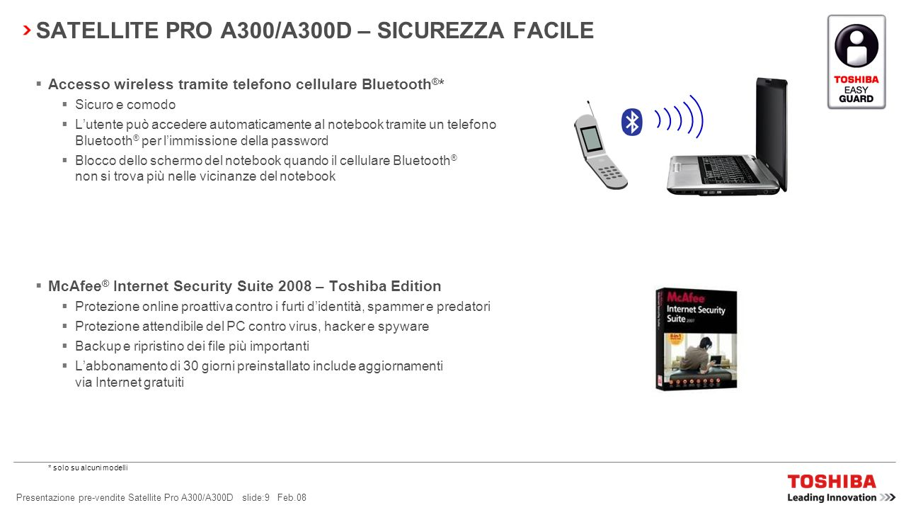 SATELLITE PRO A300/A300D – SICUREZZA FACILE