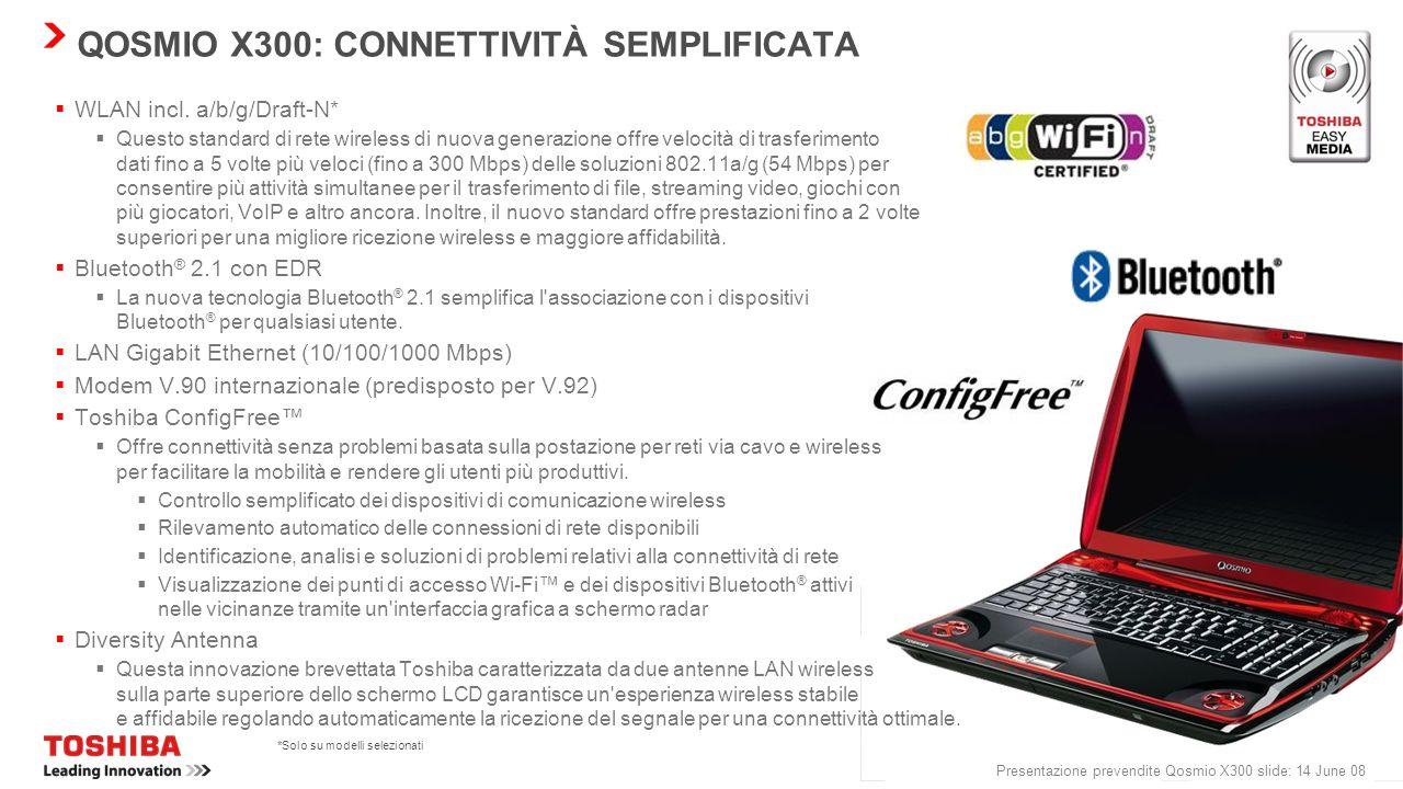 QOSMIO X300: CONNETTIVITÀ SEMPLIFICATA