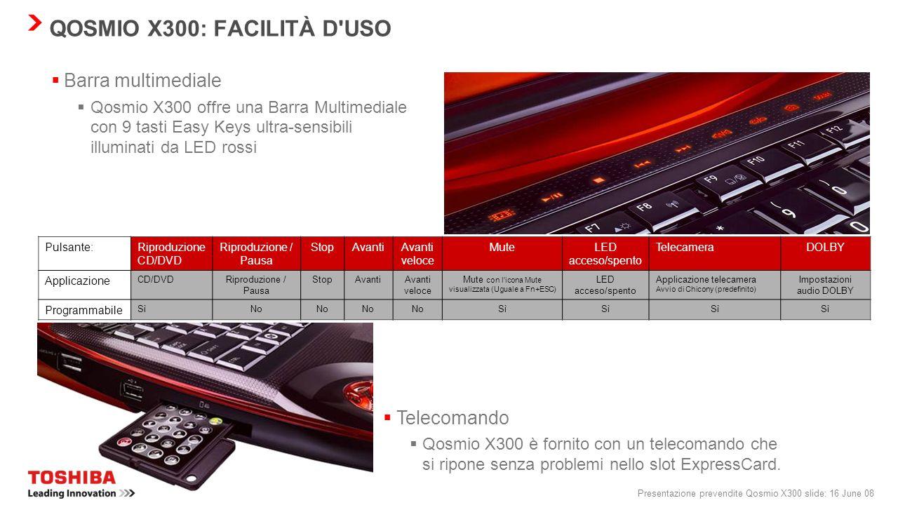 QOSMIO X300: FACILITÀ D USO