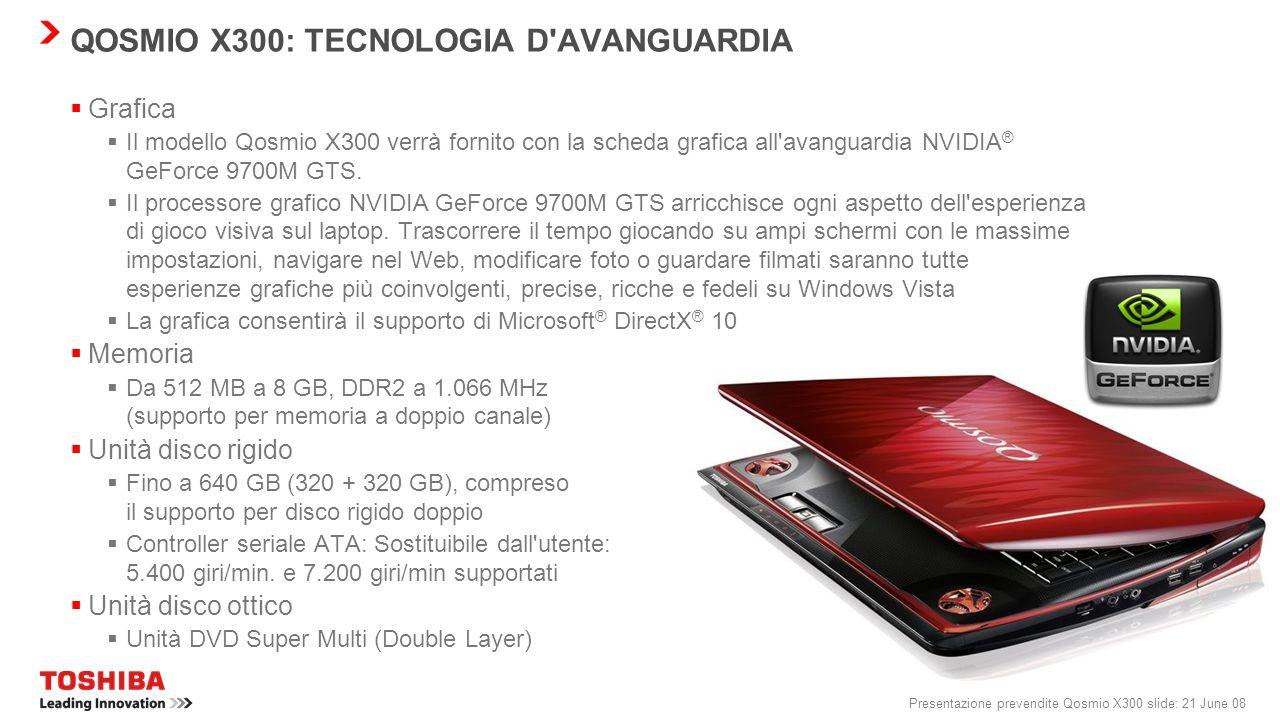 QOSMIO X300: TECNOLOGIA D AVANGUARDIA