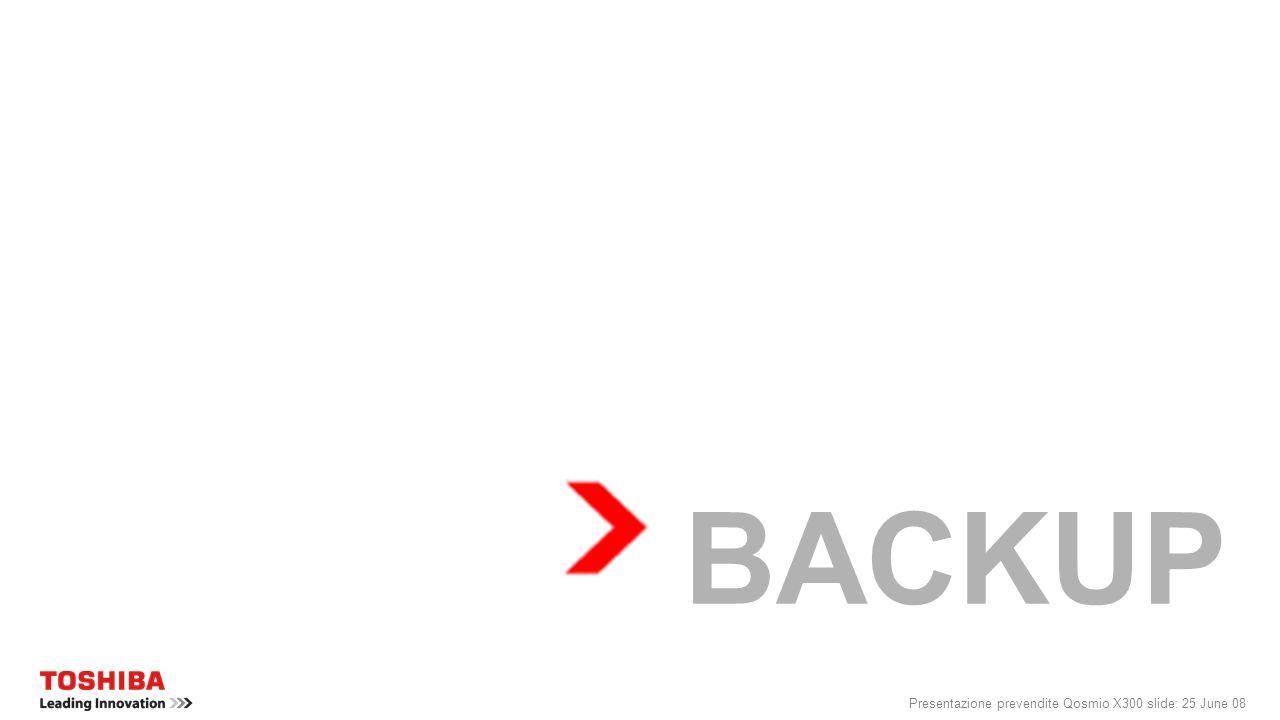 BACKUP Presentazione prevendite Qosmio X300 slide: 25 June 08