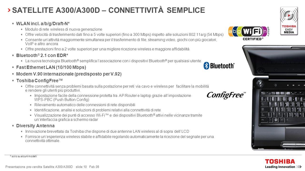 SATELLITE A300/A300D – CONNETTIVITÀ SEMPLICE