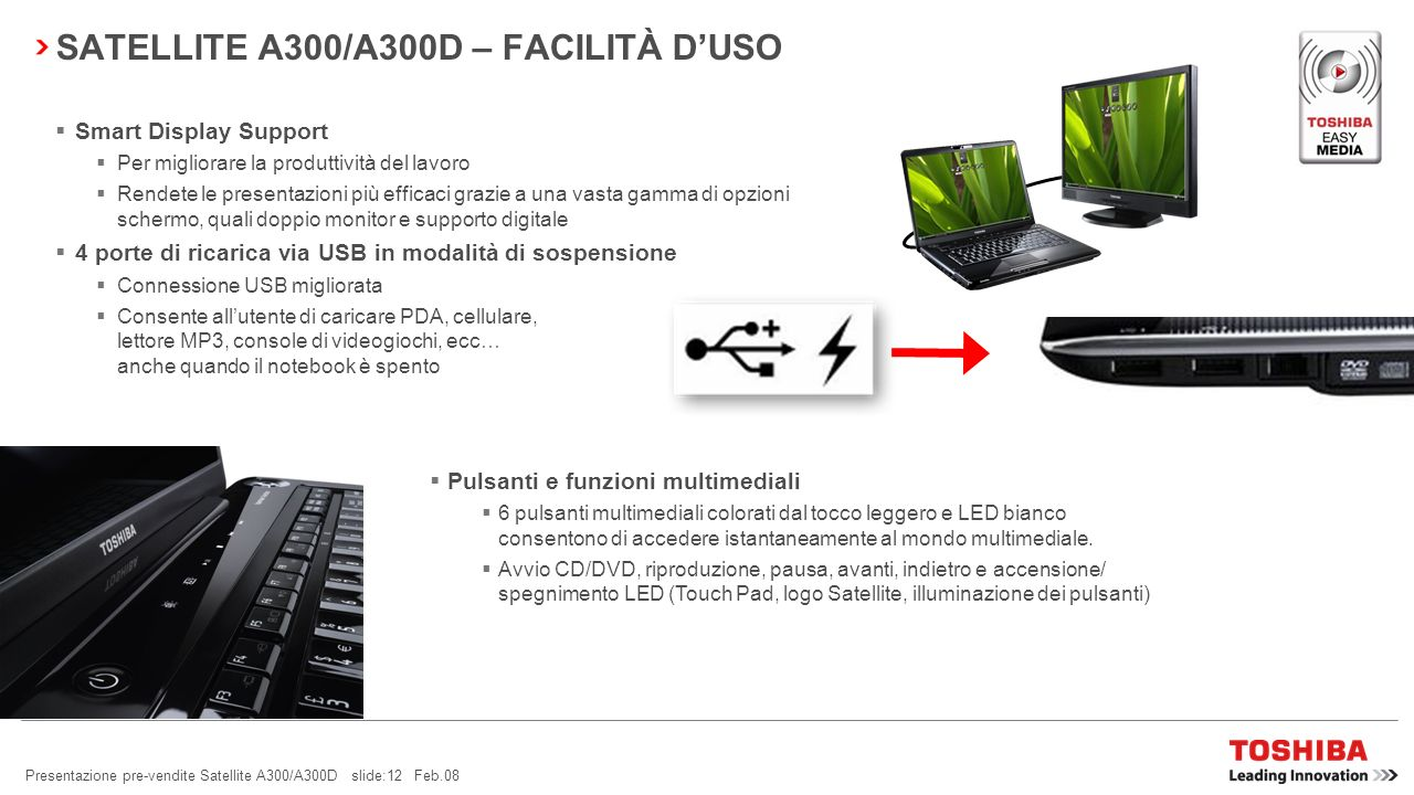 SATELLITE A300/A300D – FACILITÀ D'USO