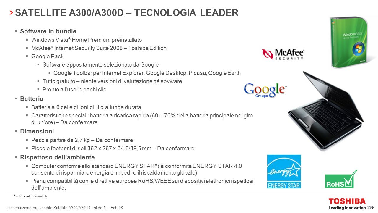 SATELLITE A300/A300D – TECNOLOGIA LEADER