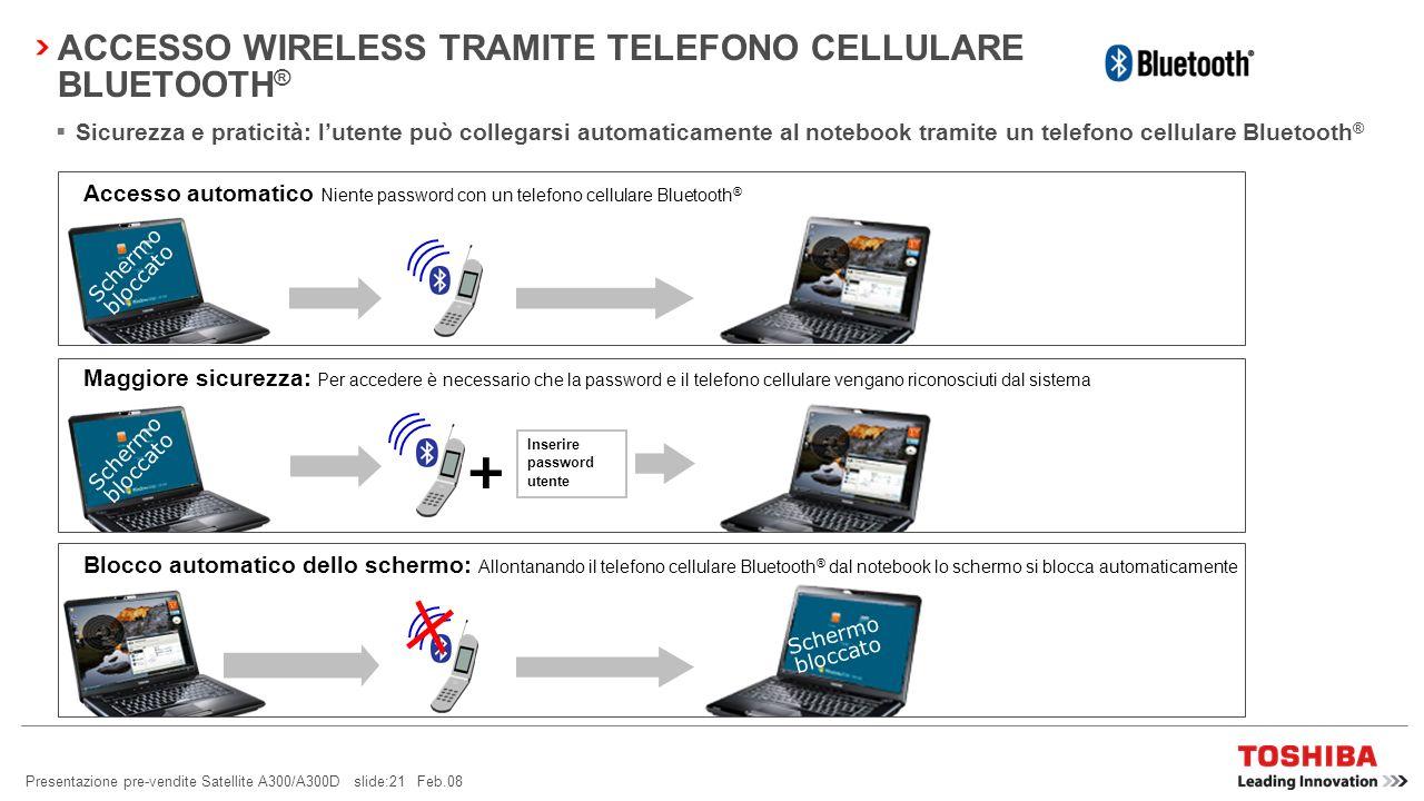 ACCESSO WIRELESS TRAMITE TELEFONO CELLULARE BLUETOOTH®