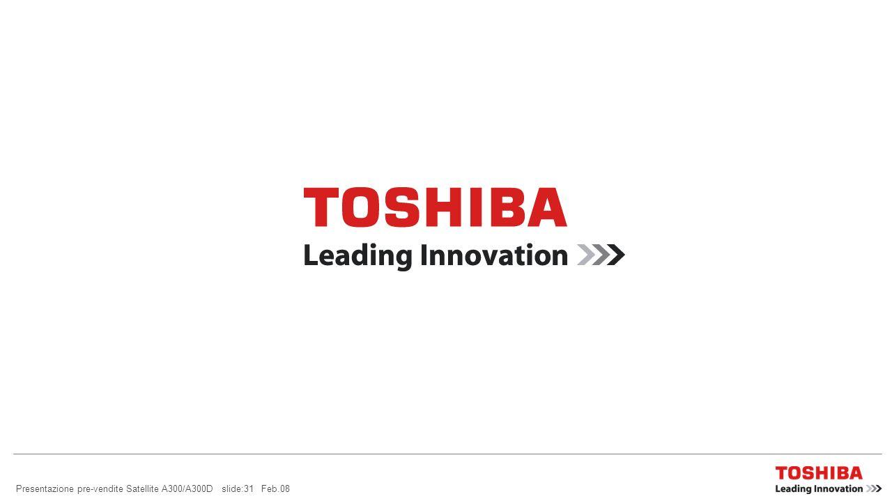 Presentazione pre-vendite Satellite A300/A300D slide:31 Feb.08
