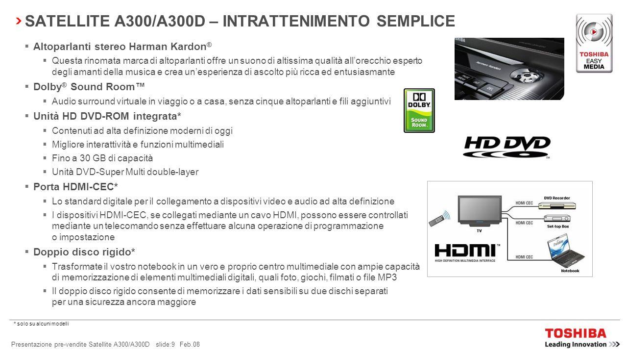 SATELLITE A300/A300D – INTRATTENIMENTO SEMPLICE