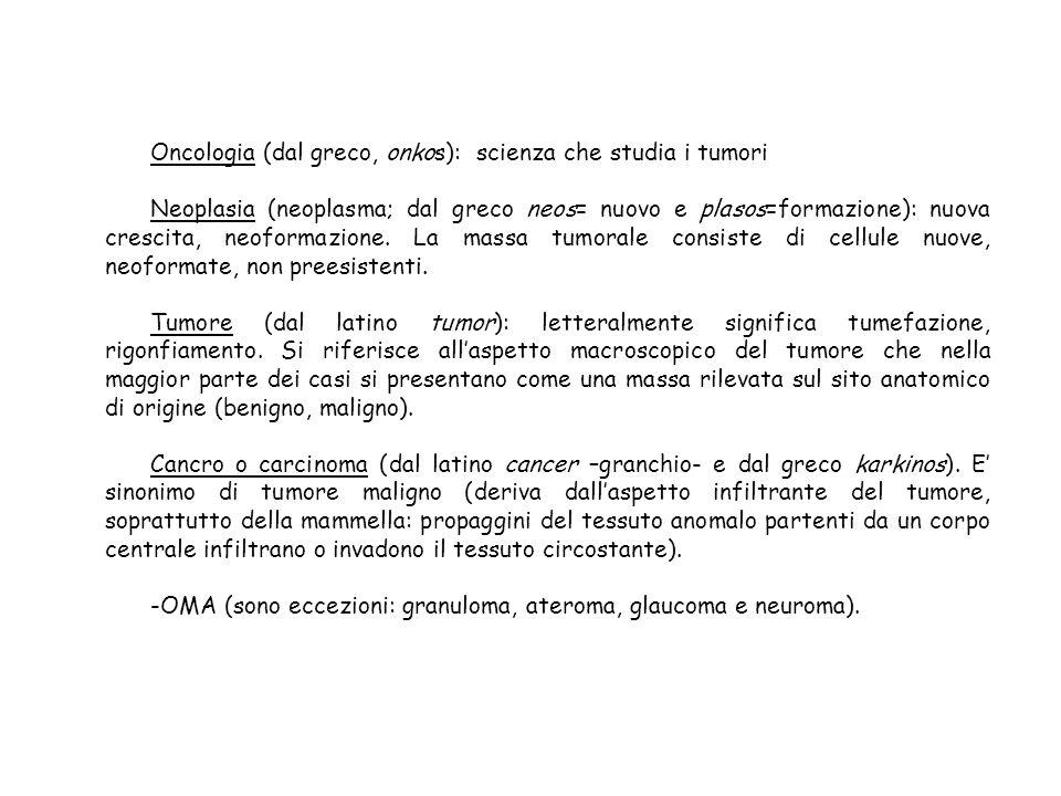 Oncologia (dal greco, onkos): scienza che studia i tumori
