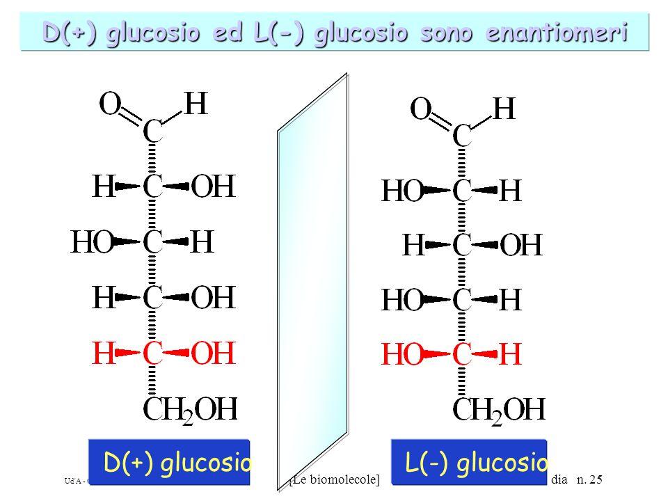D(+) glucosio ed L(-) glucosio sono enantiomeri
