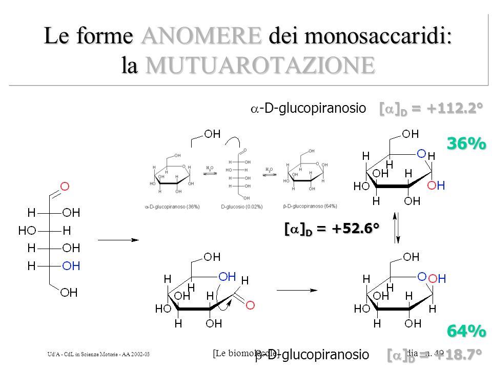 Le forme ANOMERE dei monosaccaridi: la MUTUAROTAZIONE