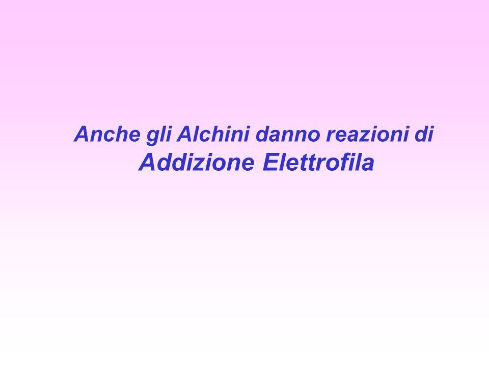Anche gli Alchini danno reazioni di Addizione Elettrofila
