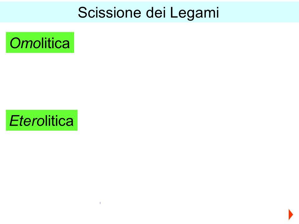 Scissione dei Legami Omolitica X● ●X X● + ●X Eterolitica - ● X● ●Y X +