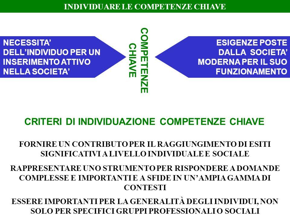 COMPETENZE CHIAVE CRITERI DI INDIVIDUAZIONE COMPETENZE CHIAVE