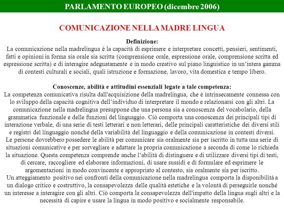 PARLAMENTO EUROPEO (dicembre 2006) COMUNICAZIONE NELLA MADRE LINGUA