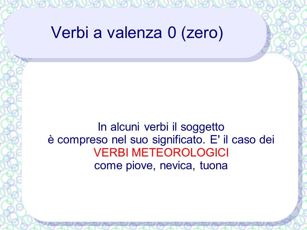 Verbi a valenza 0 (zero) In alcuni verbi il soggetto