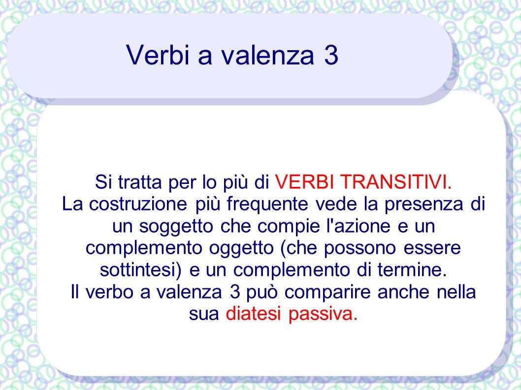 Verbi a valenza 3 Si tratta per lo più di VERBI TRANSITIVI.