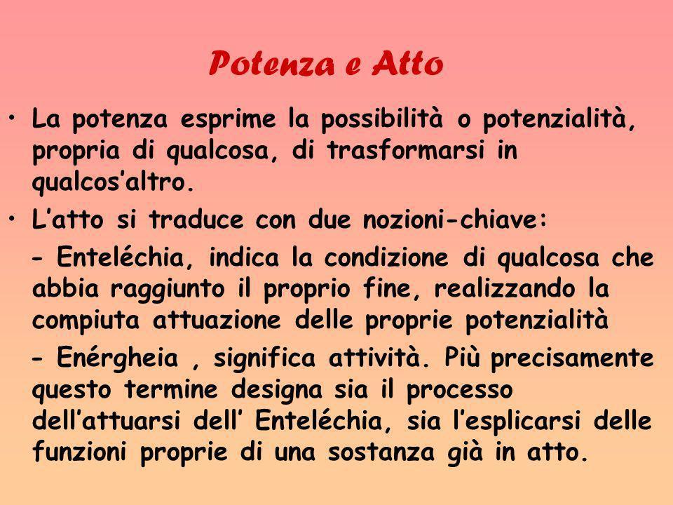 Potenza e Atto La potenza esprime la possibilità o potenzialità, propria di qualcosa, di trasformarsi in qualcos'altro.