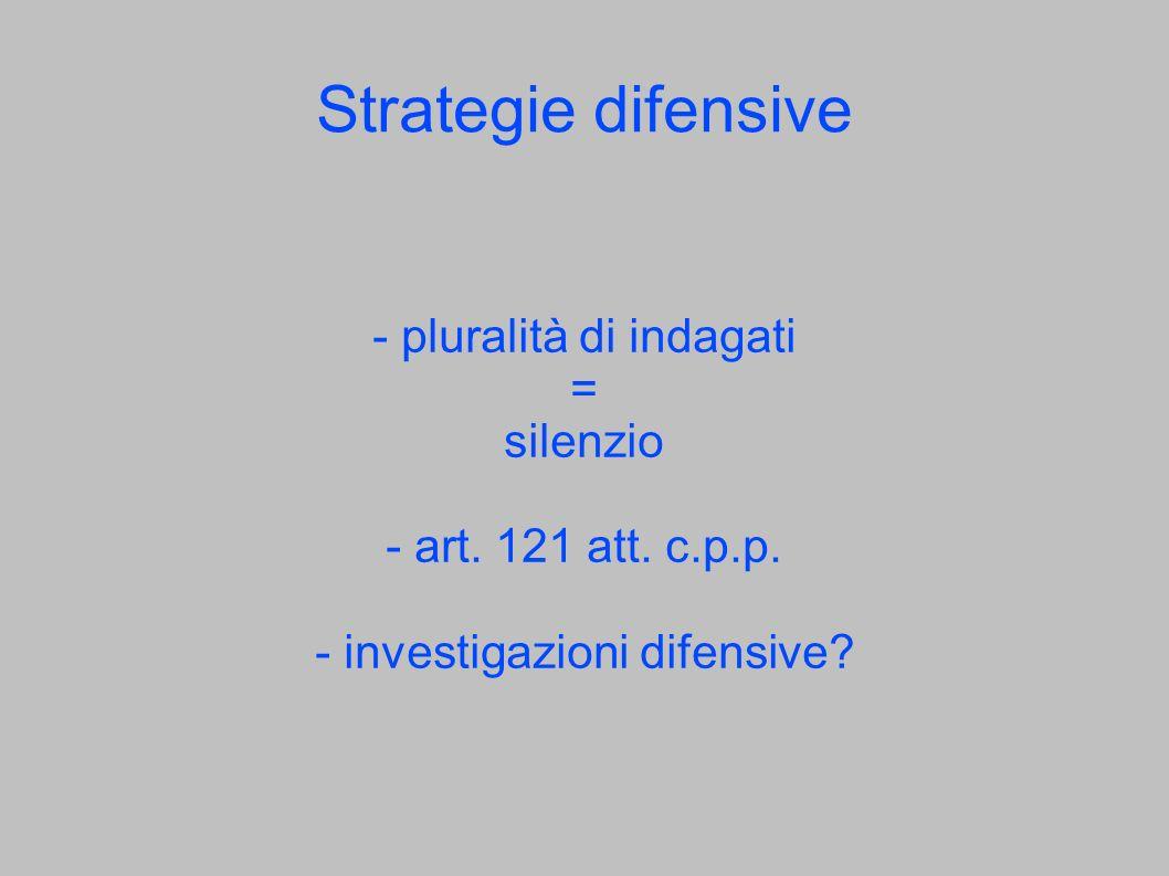 Strategie difensive - pluralità di indagati = silenzio