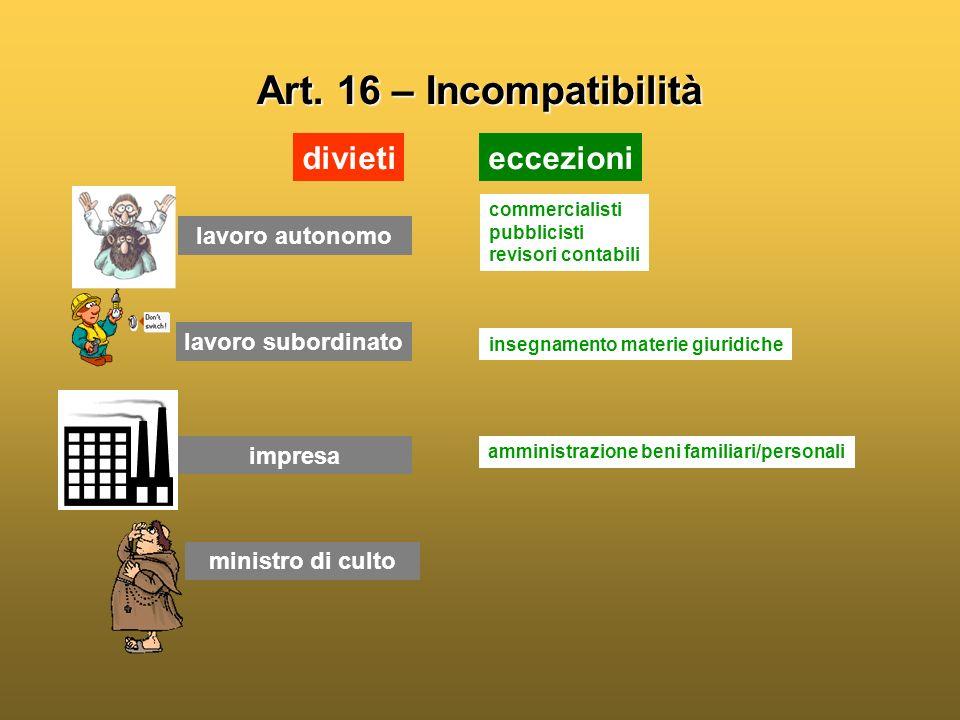 Art. 16 – Incompatibilità divieti eccezioni lavoro autonomo
