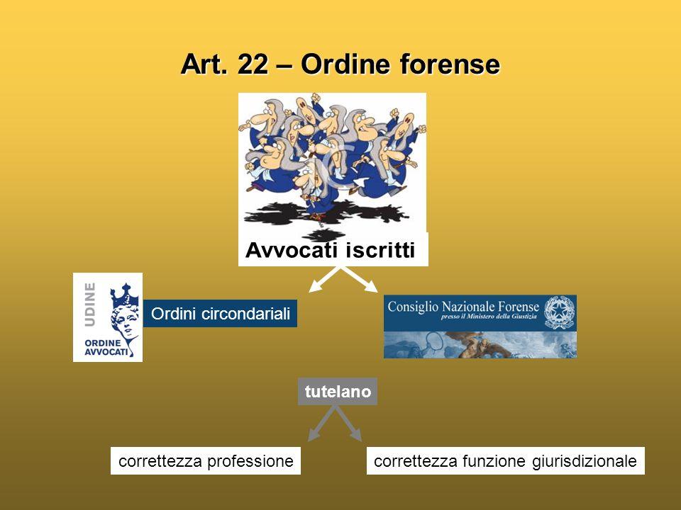 Art. 22 – Ordine forense Avvocati iscritti Ordini circondariali