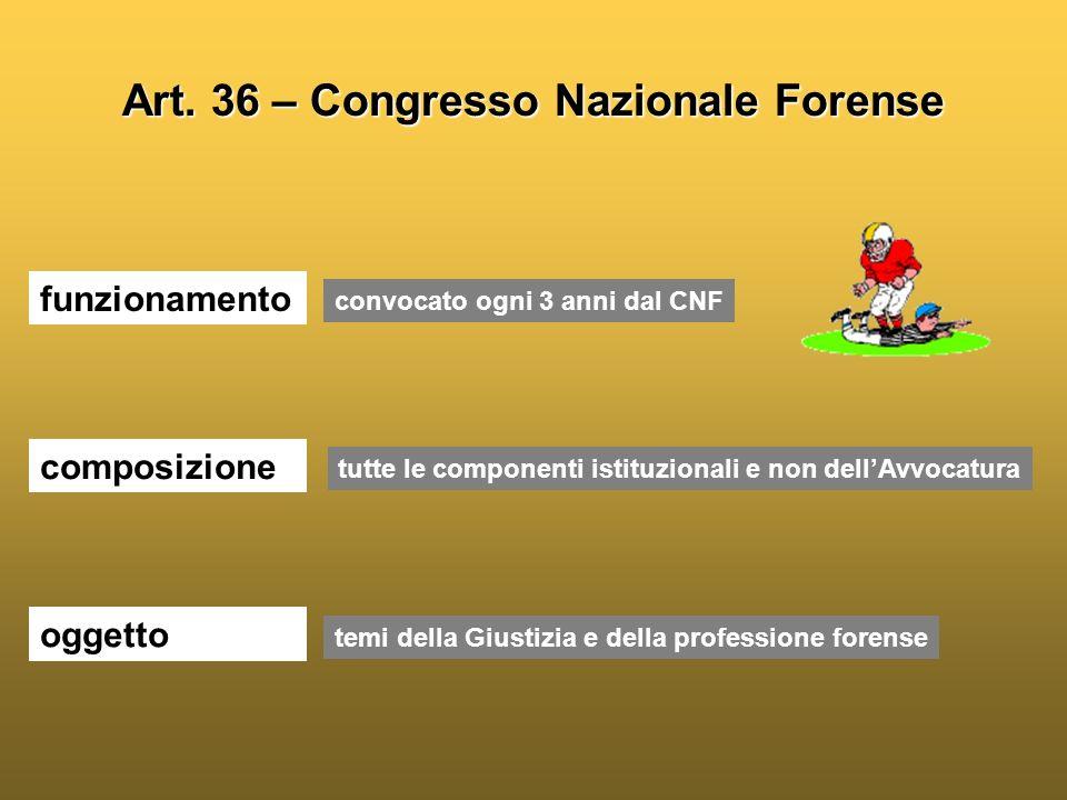 Art. 36 – Congresso Nazionale Forense