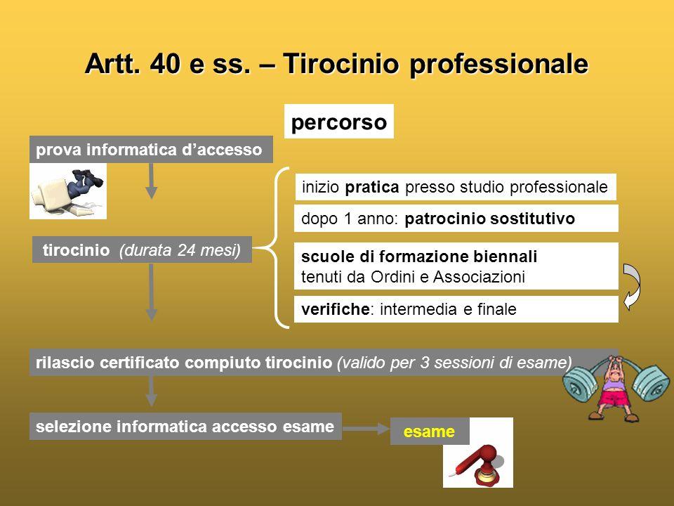 Artt. 40 e ss. – Tirocinio professionale