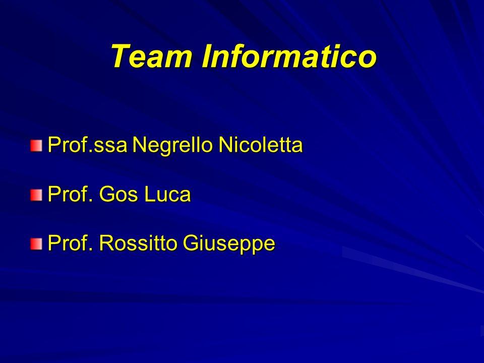 Team Informatico Prof.ssa Negrello Nicoletta Prof. Gos Luca