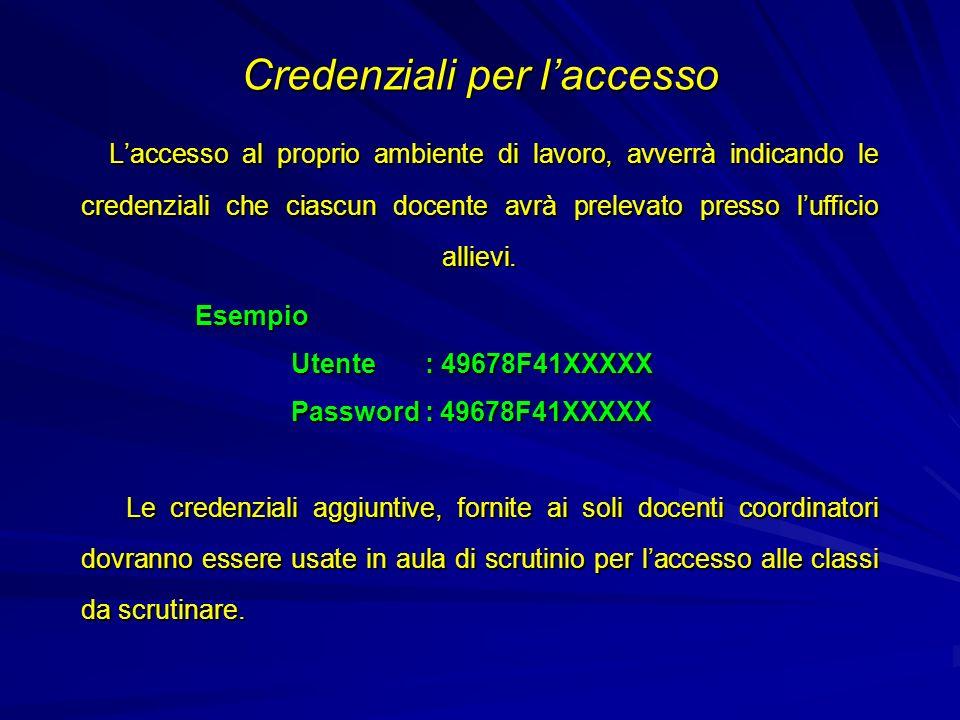 Credenziali per l'accesso