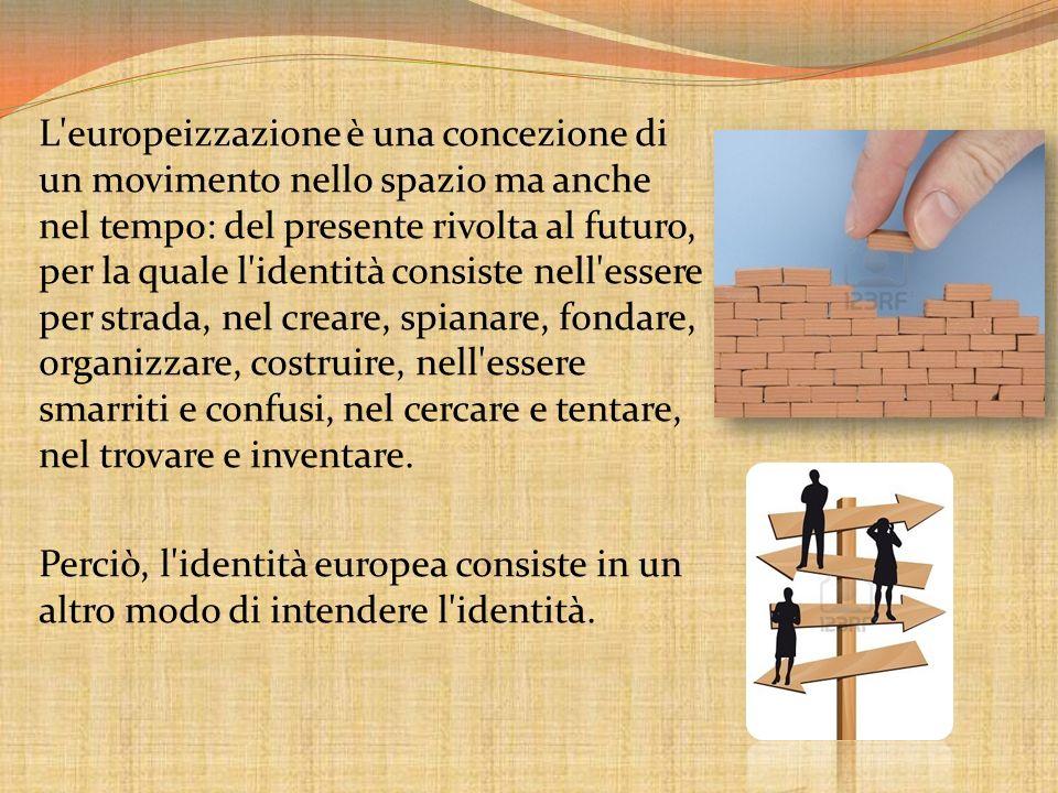 L europeizzazione è una concezione di un movimento nello spazio ma anche nel tempo: del presente rivolta al futuro, per la quale l identità consiste nell essere per strada, nel creare, spianare, fondare, organizzare, costruire, nell essere smarriti e confusi, nel cercare e tentare, nel trovare e inventare.