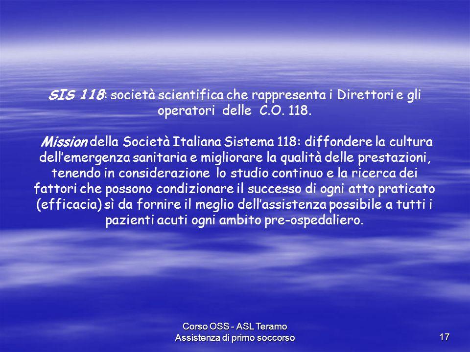 Corso OSS - ASL Teramo Assistenza di primo soccorso