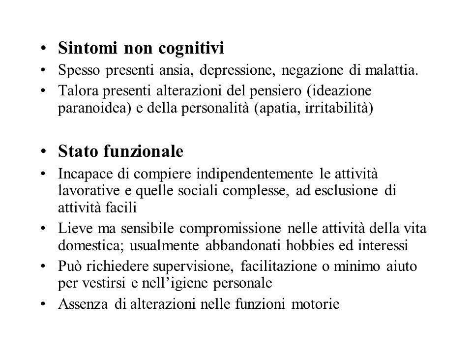 Sintomi non cognitivi Stato funzionale