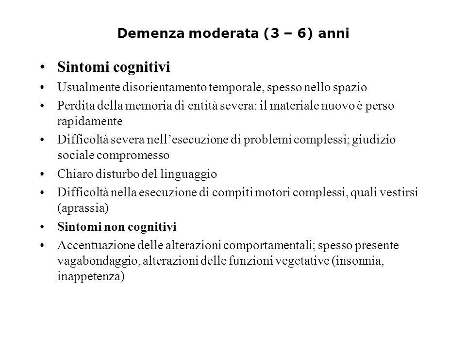 Demenza moderata (3 – 6) anni
