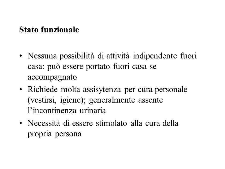 Stato funzionale Nessuna possibilità di attività indipendente fuori casa: può essere portato fuori casa se accompagnato.